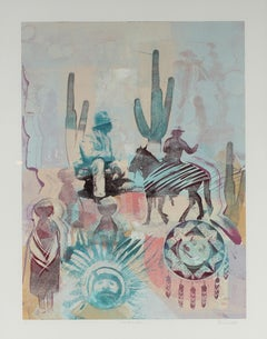 """""""Western Faces"""" 1980s Monotype of Western Scene with Desert Plants and Cowboys"""