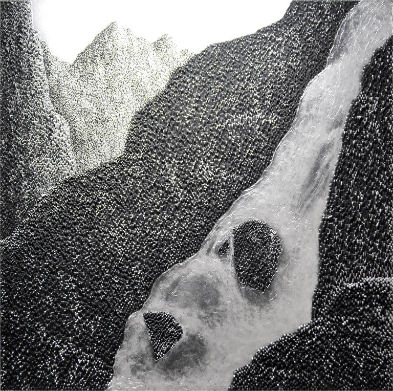 """Saenkom Chansrinual Landscape Painting - """"Grand Mountain - Waterfall"""", Silver Impasto Painting, Solid acrylic on canvas"""