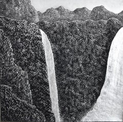 """""""Grand Mountain & Waterfall"""", Silver impasto painting, solid acrylic on canvas"""