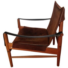 Safari Antilop Chair by Hans Olsen, Suede Seat, Leather Arms, Oak Frame, 1950s