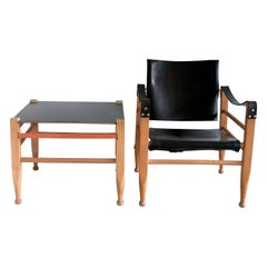 Safari Chair and Table Attributed to Børge Mogensen