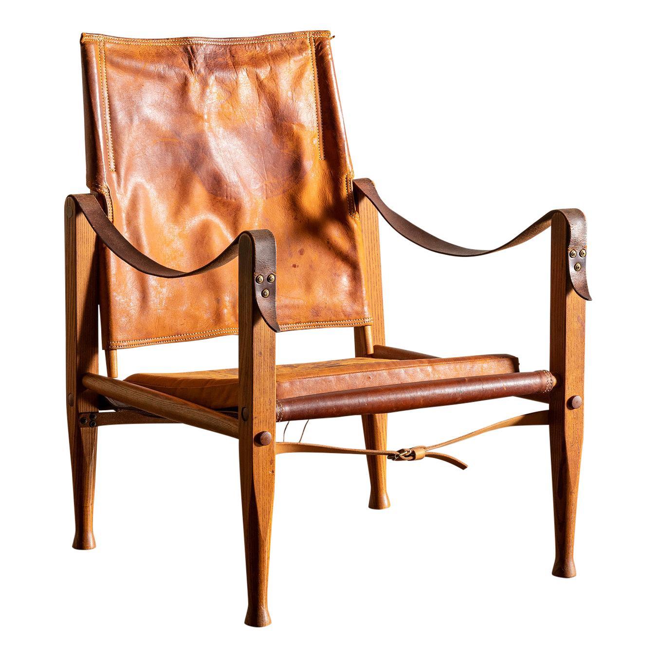 Safari Chair by Kaare Klint in Cognac Leather, Denmark, 1960s