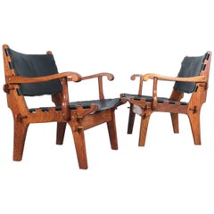 Safari Chairs Angel Pazmino Rosewood Hunting Armchairs Black Original Leather