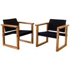 Safari Chairs by Finn Farmer. Black Canvas on Pine Frame, 1960s. Sold as Pair