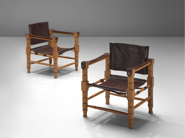 European Safari Chairs with Sculptural Wooden Frames For Sale