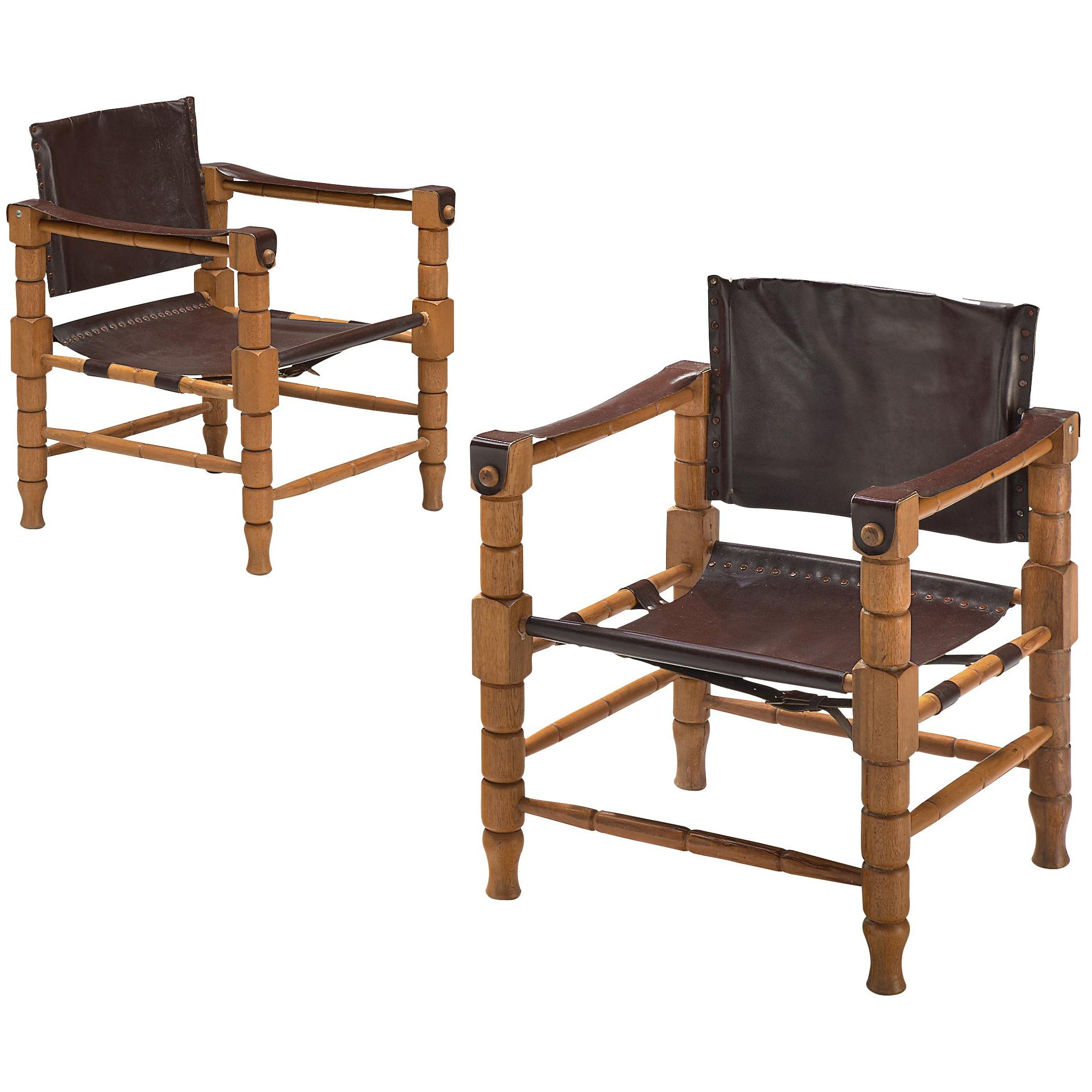 Safari Chairs with Sculptural Wooden Frames
