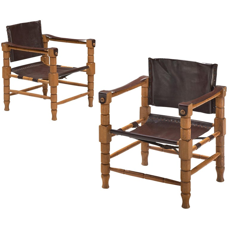 Safari Chairs with Sculptural Wooden Frames For Sale