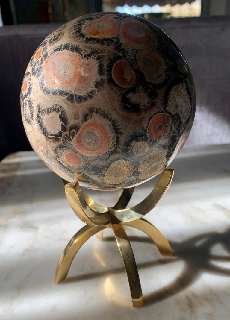 20th Century Safari Jasper Marble Stone Sphere on Brass Stand For Sale