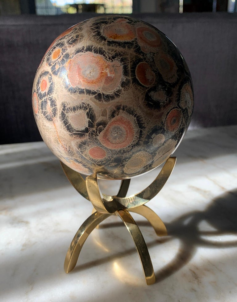 Safari Jasper Marble Stone Sphere on Brass Stand For Sale 1