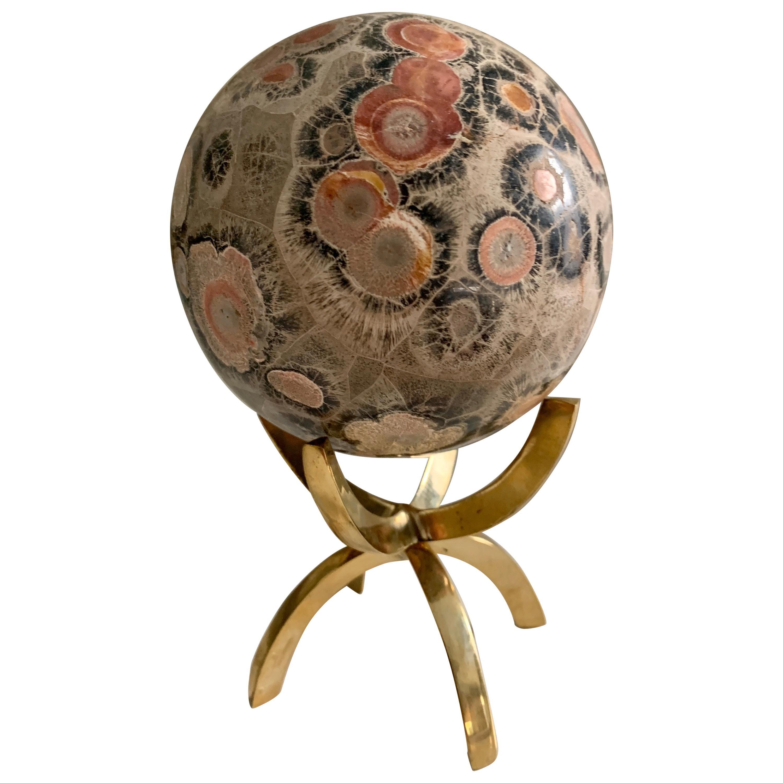 Safari Jasper Marble Stone Sphere on Brass Stand