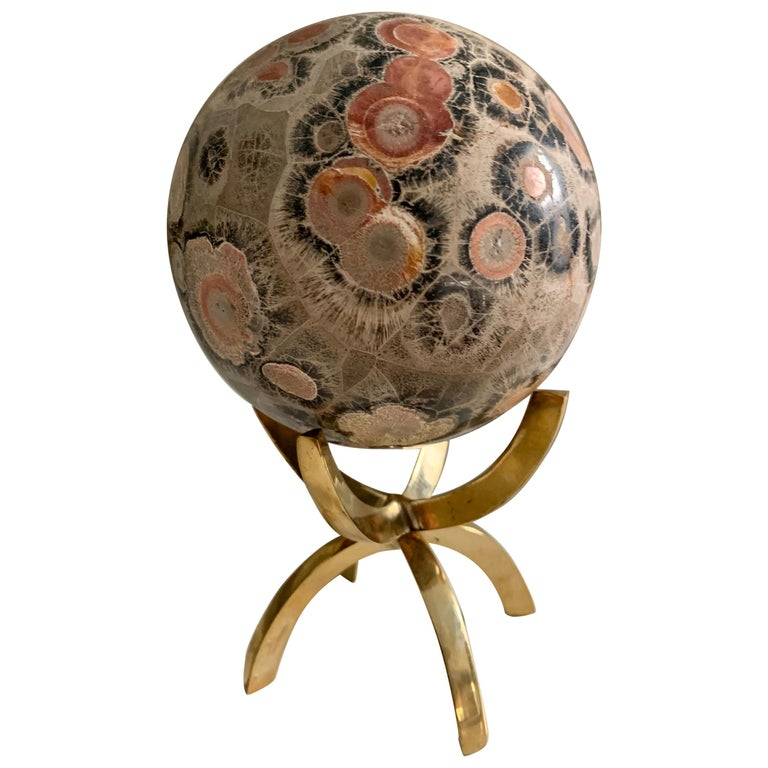 Safari Jasper Marble Stone Sphere on Brass Stand For Sale