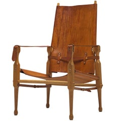 'Safari' Lounge Chair in Cognac Leather and Solid Beech