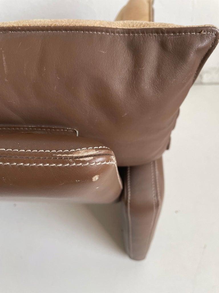 Safari Suede and Leather Dinner Chair, Carlo Bartoli for Rossi di Albizzate, 80s For Sale 3