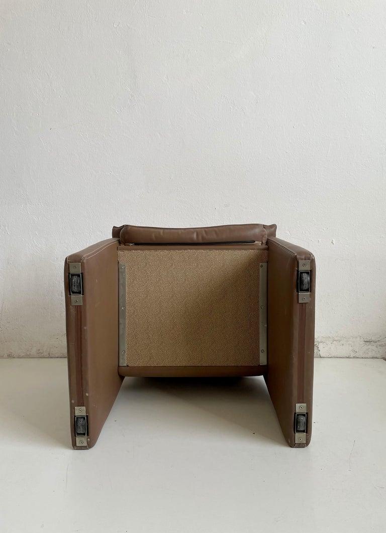 Safari Suede and Leather Dinner Chair, Carlo Bartoli for Rossi di Albizzate, 80s For Sale 5