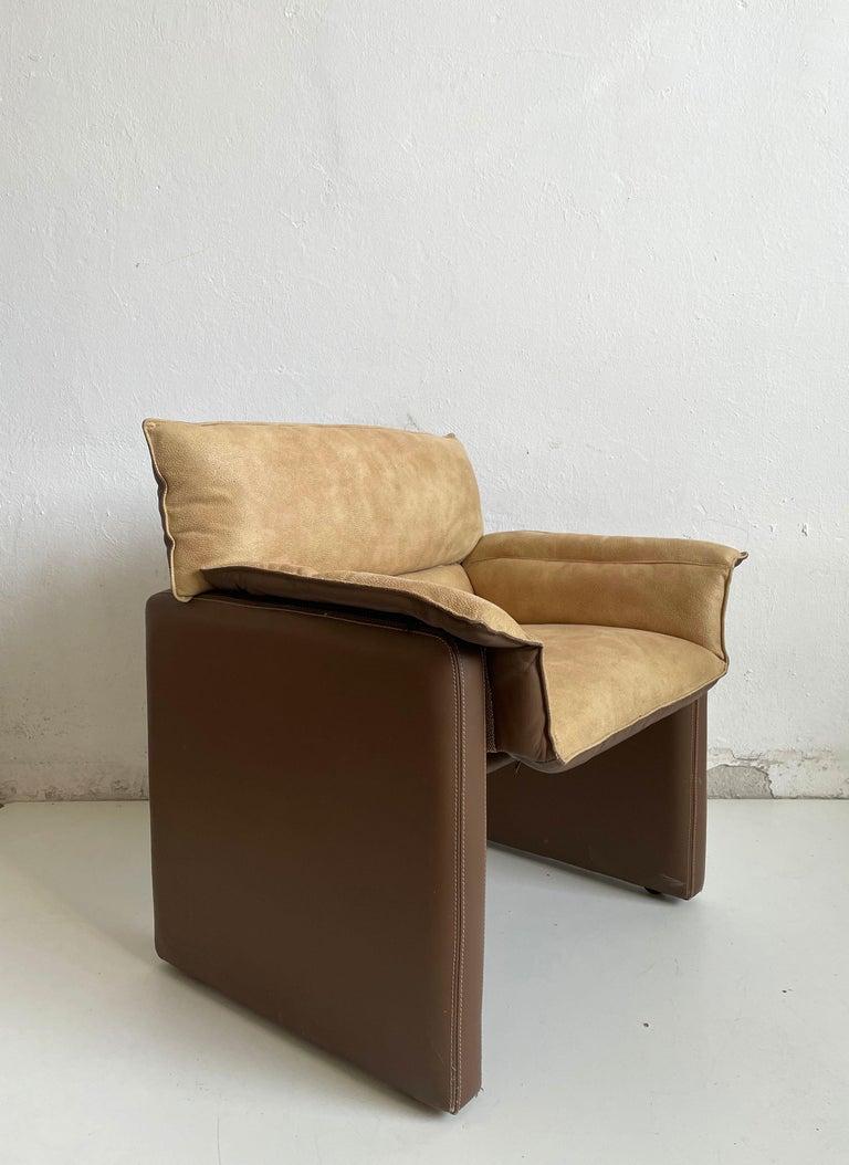 Safari Suede and Leather Dinner Chair, Carlo Bartoli for Rossi di Albizzate, 80s In Good Condition For Sale In Zagreb, HR
