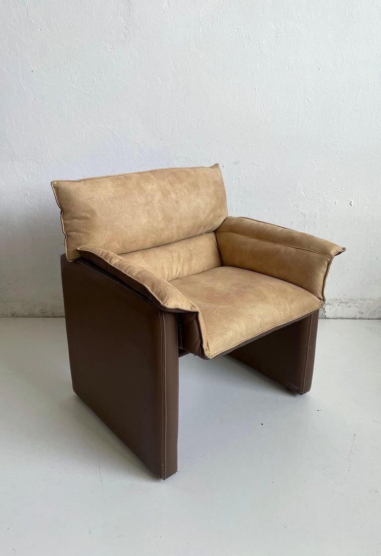 20th Century Safari Suede and Leather Dinner Chair, Carlo Bartoli for Rossi di Albizzate, 80s For Sale