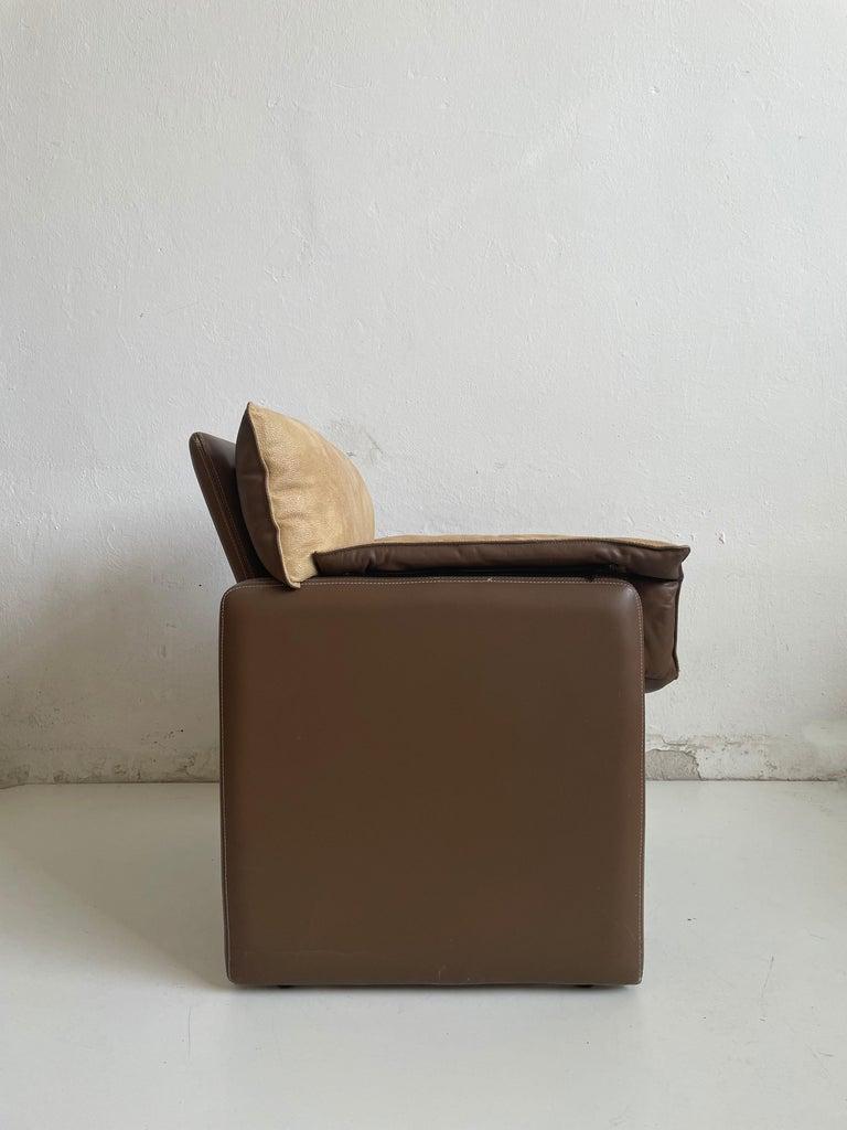 Lambskin Safari Suede and Leather Dinner Chair, Carlo Bartoli for Rossi di Albizzate, 80s For Sale