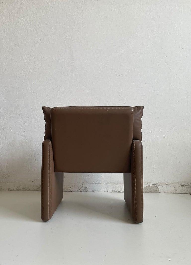 Safari Suede and Leather Dinner Chair, Carlo Bartoli for Rossi di Albizzate, 80s For Sale 1