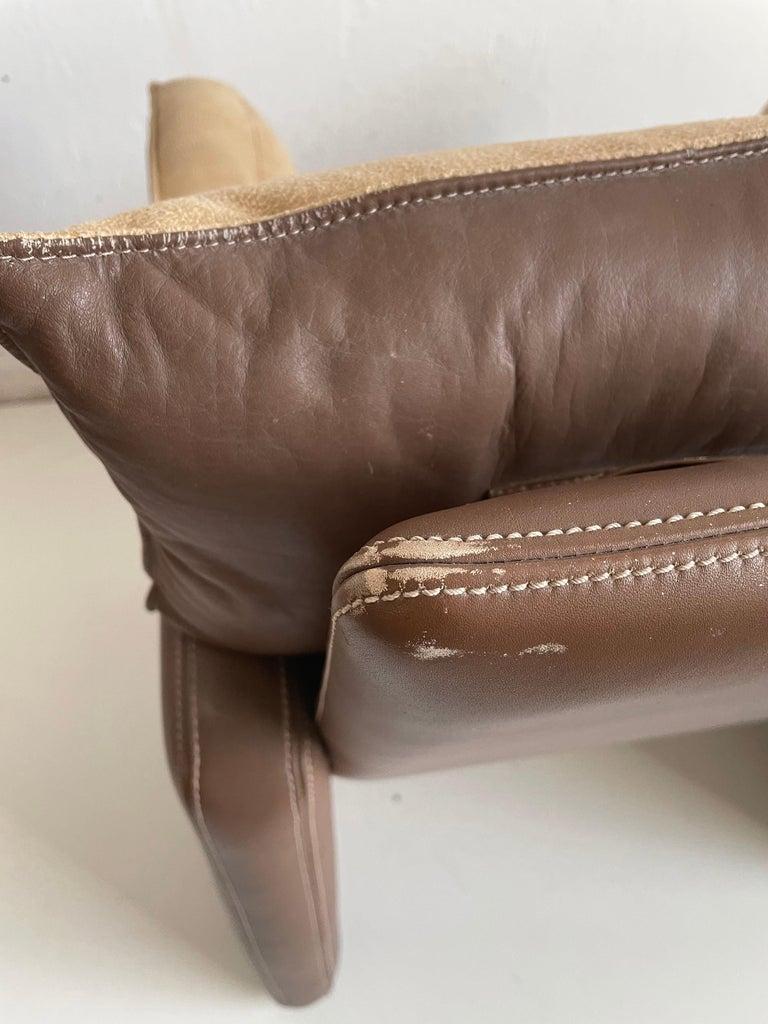 Safari Suede and Leather Dinner Chair, Carlo Bartoli for Rossi di Albizzate, 80s For Sale 2