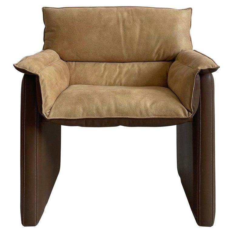 Safari Suede and Leather Dinner Chair, Carlo Bartoli for Rossi di Albizzate, 80s For Sale