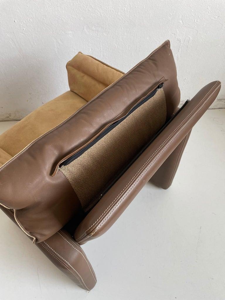 Safari Suede and Leather Dinner Chair, Carlo Bartoli for Rossi di Albizzate For Sale 3