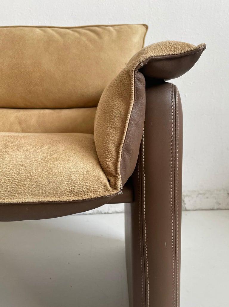 Safari Suede and Leather Dinner Chair, Carlo Bartoli for Rossi di Albizzate For Sale 4