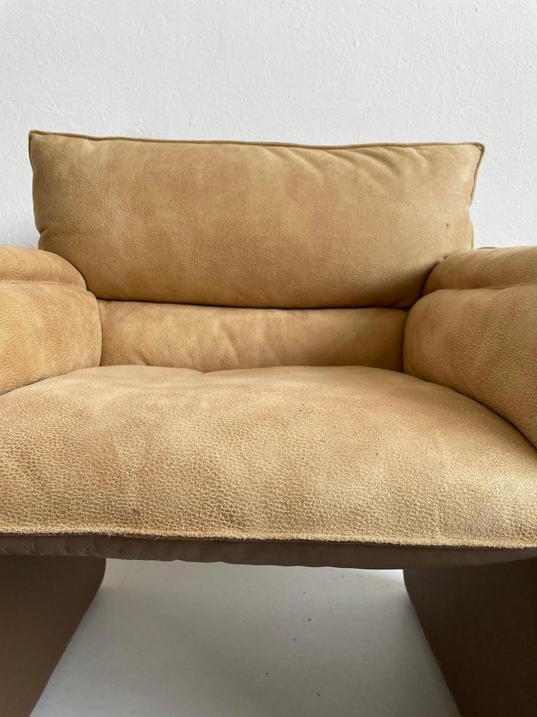 Safari Suede and Leather Dinner Chair, Carlo Bartoli for Rossi di Albizzate For Sale 6