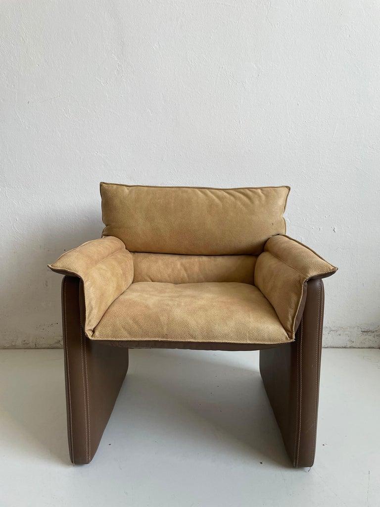 Safari Suede and Leather Dinner Chair, Carlo Bartoli for Rossi di Albizzate For Sale 7