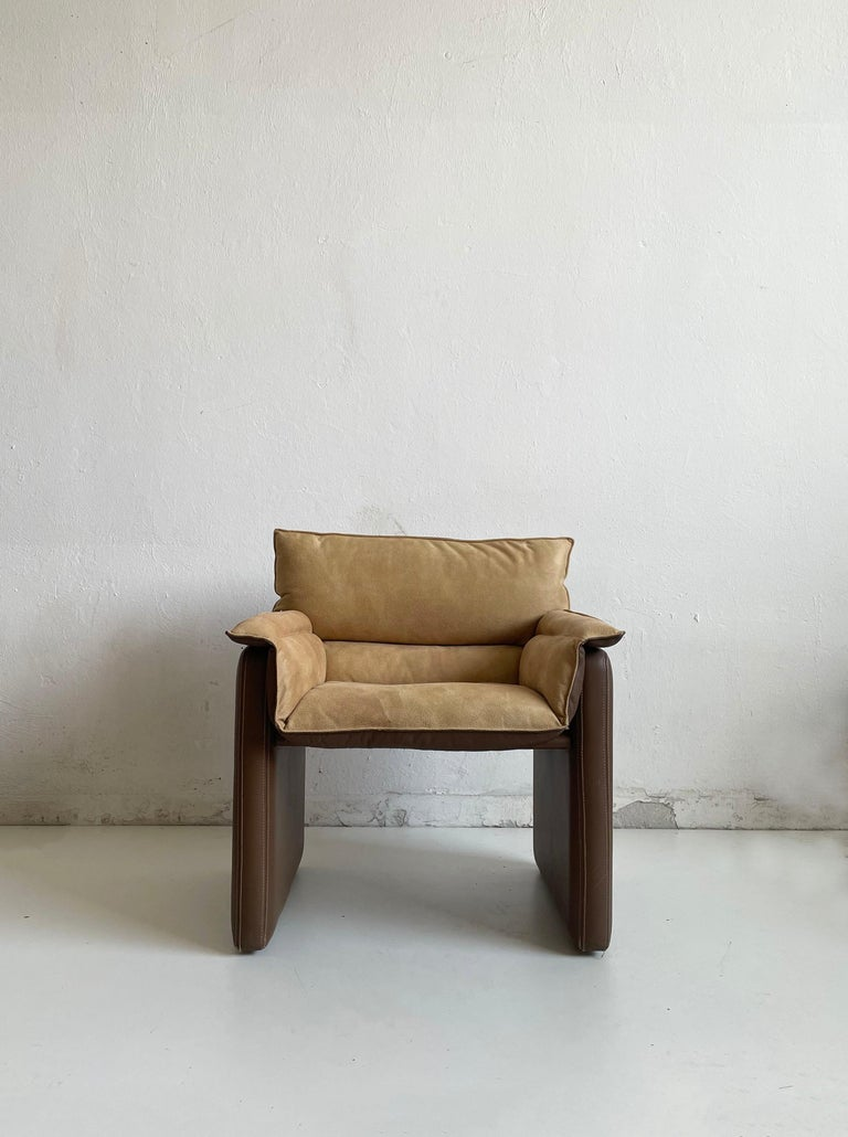 Mid-Century Modern Safari Suede and Leather Dinner Chair, Carlo Bartoli for Rossi di Albizzate For Sale