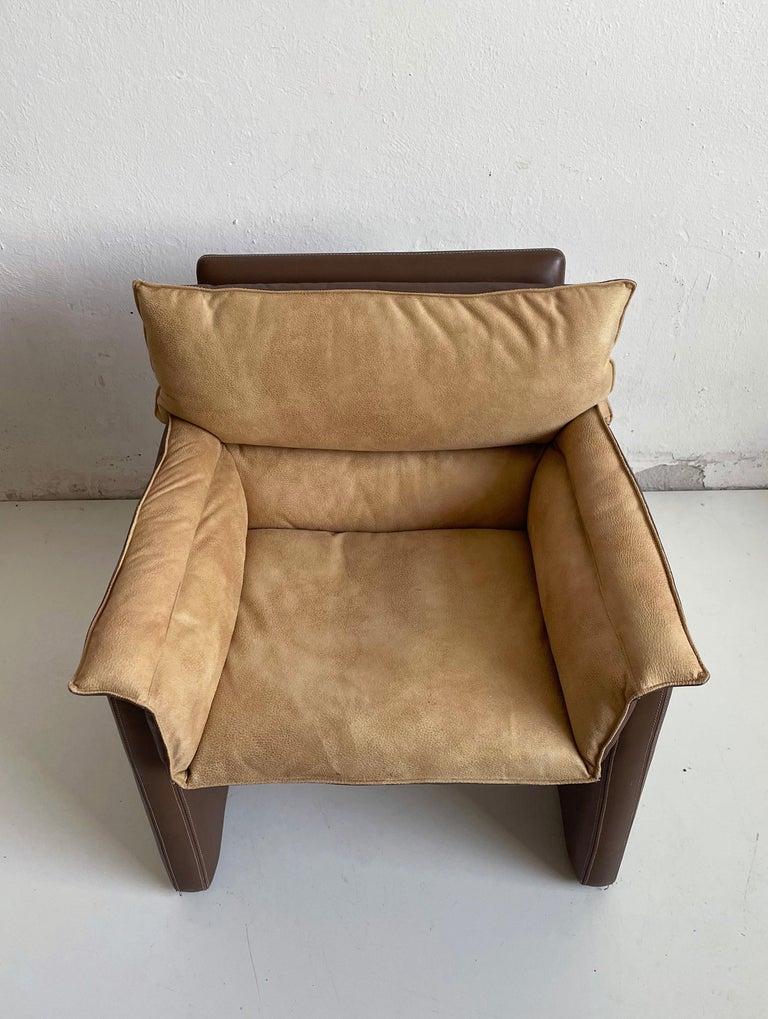 Italian Safari Suede and Leather Dinner Chair, Carlo Bartoli for Rossi di Albizzate For Sale