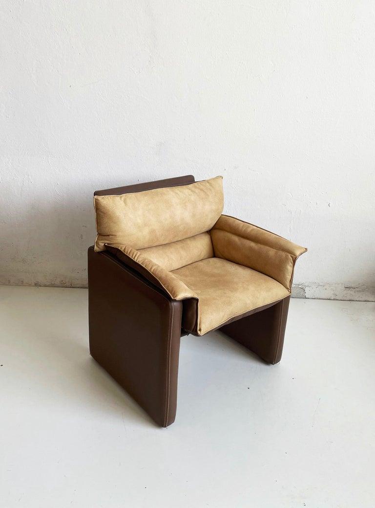 Safari Suede and Leather Dinner Chair, Carlo Bartoli for Rossi di Albizzate In Good Condition For Sale In Zagreb, HR