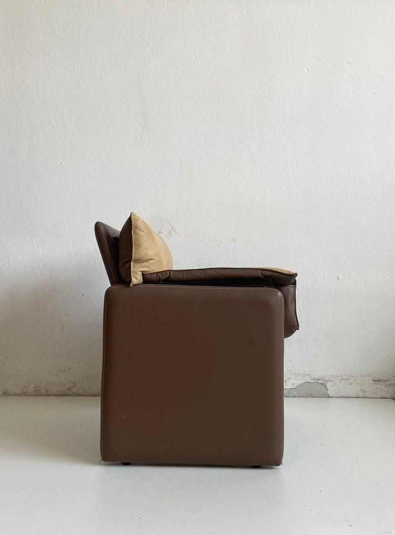 20th Century Safari Suede and Leather Dinner Chair, Carlo Bartoli for Rossi di Albizzate For Sale