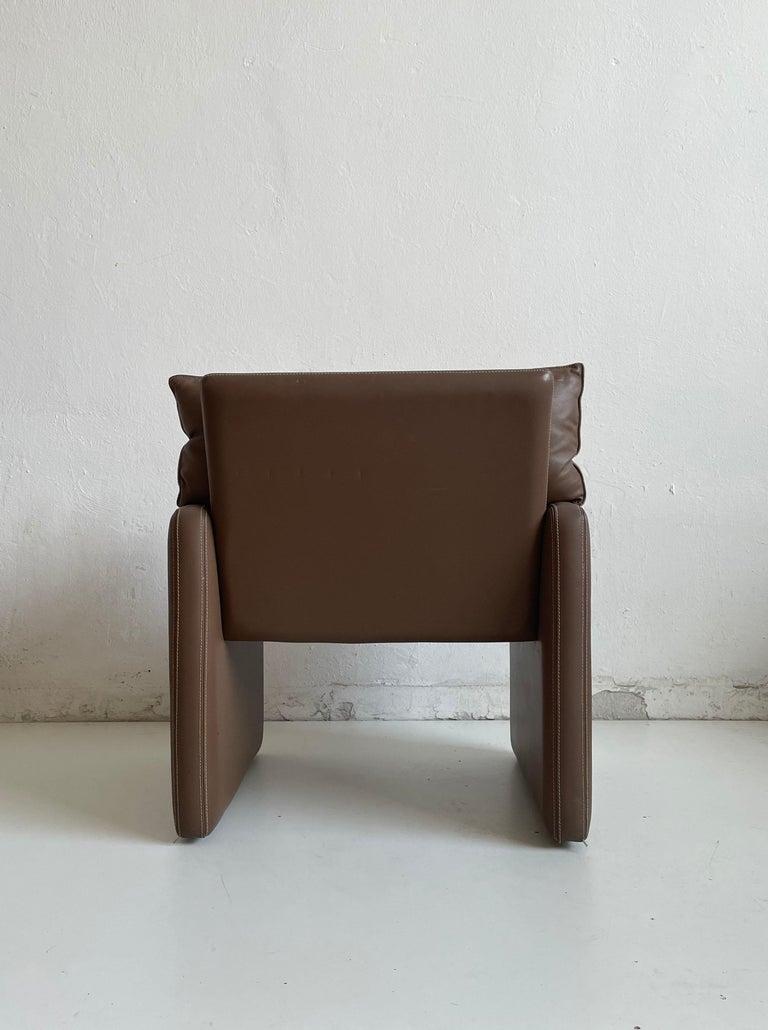 Safari Suede and Leather Dinner Chair, Carlo Bartoli for Rossi di Albizzate For Sale 1