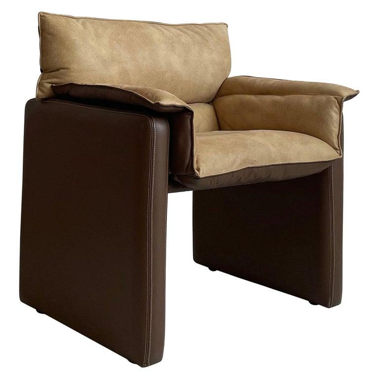 Safari Suede and Leather Dinner Chair, Carlo Bartoli for Rossi di Albizzate For Sale
