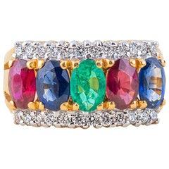 Safir Ruby Emerald Diamond Ring in 18 Karat Gold