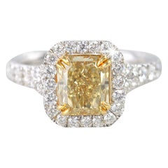 S.African EGL Certificated Radiant Fancy Intense Brownish Yellow Engagement Ring