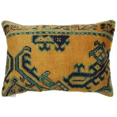 Safrron Yellow Green Early 20th Century Wool Antique Oushak Rug Pillow
