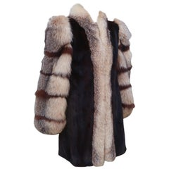 Saga Brown Mink & Fox Fur Stroller Jacket Coat, 1980's