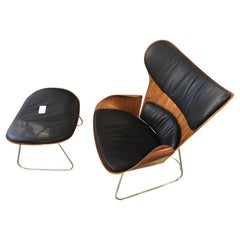 Saga Cherrywood Shell Black Leather Armchair and Foot Stool by Gioia Marcovicz