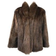 SAGA Chestnut Mink Jacket with Fox Fur Collar & Facing