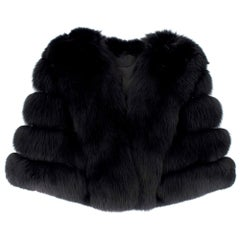 Saga Furs Black Fox Fur Shawl  - Size S