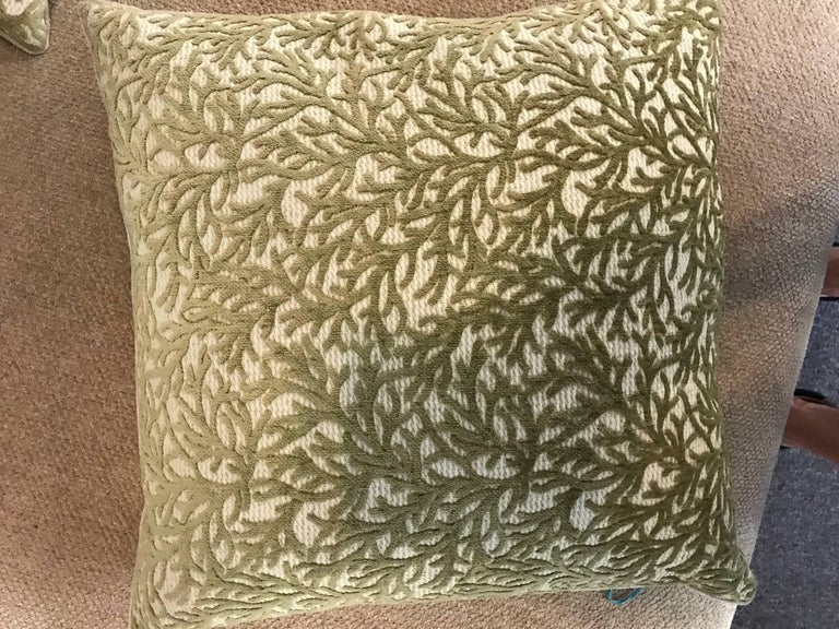 These pair of high end pillows came from the premiere home store in Palm Springs CA that closed over a decade ago. Purchased by my clients, they were never used and are as new. The sage color coral jacquard is on a raised beige ribbed fabric. the