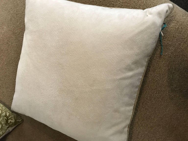Canadian  Pair of Sage Coral Cut Velvet Modern Design Throw Pillows For Sale