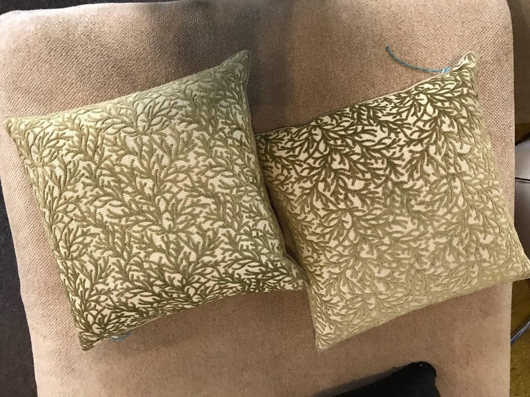 Contemporary  Pair of Sage Coral Cut Velvet Modern Design Throw Pillows For Sale