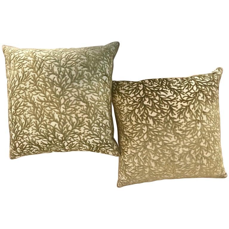 Pair of Sage Coral Cut Velvet Modern Design Throw Pillows For Sale