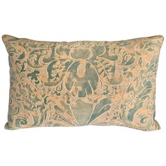 Sage Green and Gold Italian Silk Fortuny Pillow