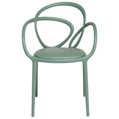 Sage Green Loop Padded Armchair, Made in Italy