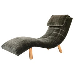 Sage Green Mohair Wave Chaise Attributed to Enrico Bartolini