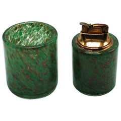Sage Green Murano Glass Lighter & Holder, circa 1960