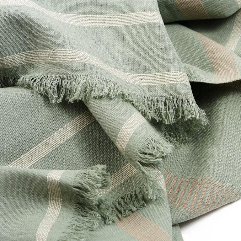 Contemporary Sage Handloom Throw / Blanket In Organic Cotton In Soft Neutral Pastel Shades For Sale